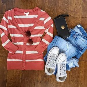 Zenana Outfitters Women Orange Cardigan Small
